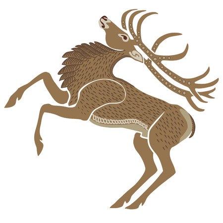 Hand-drawn illustration of a stag. Ethnic style. Vector, separated background.