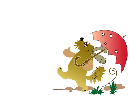 Funny dog walks with a parasol. Vector cartoon figure, on isolated white background.