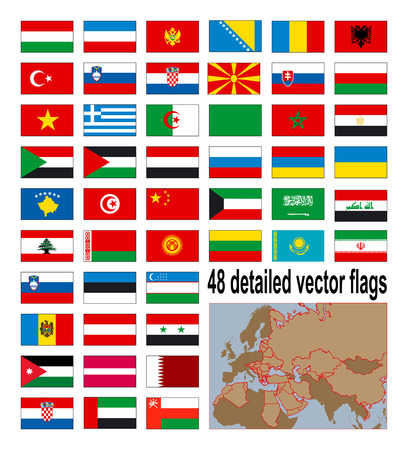 Detailed vector flags of 48 European, Asian and African country. Vector