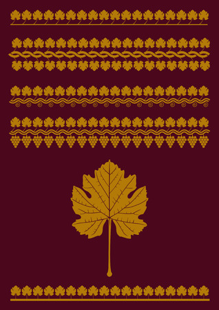 Set of grape and grape leaf borders, patterns. Vector, isolated background.