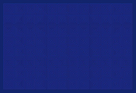 Vector background decorated by blue meander pattern.