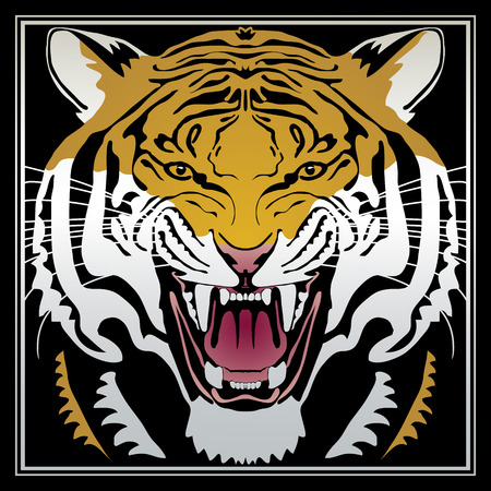 Vector head of the tiger. Totem, tattoo design for t-shirt, logo, bag, postcard, poster, illustration and so on. Vector