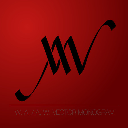 W. A. or A. W. vector monogram, or logo of firms. Çizim