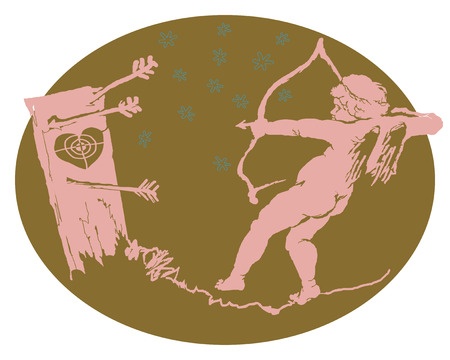 The clumsy Cupid Illustration on separated background.