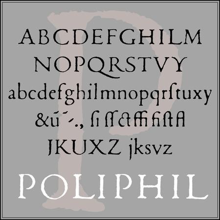 typographer: Classic font of the Venetian typographer in its original worn form.