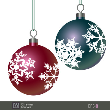 Snowflake patterned Christmas baubles. Design for illustration, card, any ads and Christmas themes.