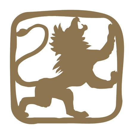 armorial: Stylized hand drawn lion. Design for t-shirt, bag, illustration etc.