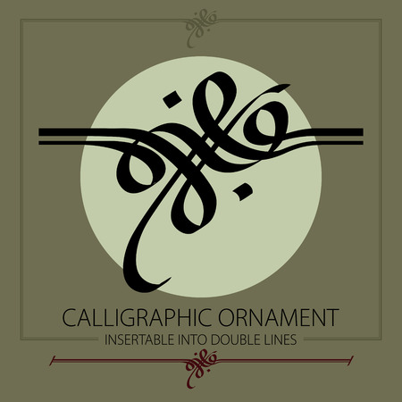 Hand drawn calligraphic ornament, insertable into double lines. Design for any decorative Purposes. Çizim