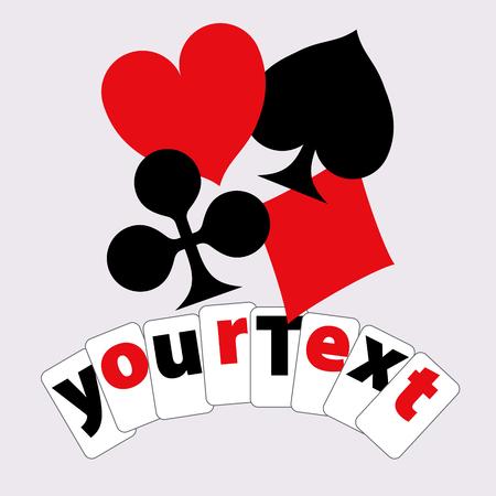 Spielkarte Anzüge. Design für T-Shirts, Anzeigen usw. durch seine Zusatzelemente. Standard-Bild - 53498477