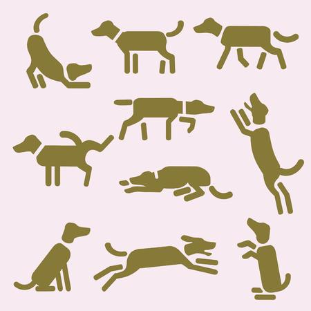A set of dog icons or pictograms. Design for t-shirt, bag, ad, post card, illustration etc.