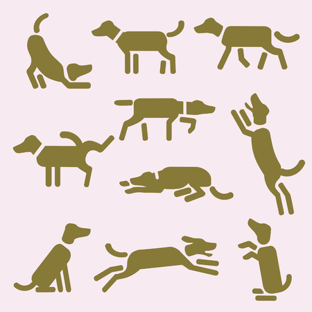 A set of dog icons or pictograms. Design for t-shirt, bag, ad, post card, illustration etc.