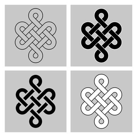 nudo: El nudo sin fin. símbolo sagrado del renacimiento en el budismo de la concatenación. Separado de fondo. - Variante redondeada
