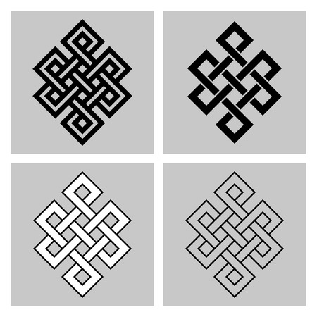 simbolo: Il nodo infinito. simbolo sacro della rinascita nel Buddismo della concatenazione. Archivio separati sfondo. Vettoriali