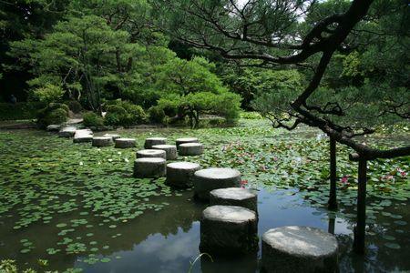 buddhist meditation: Stepping Stones - Heian Temple, Kyoto, Japan