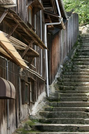 ryokan: Steps by Old Wooden Building - Miyajima, Japan