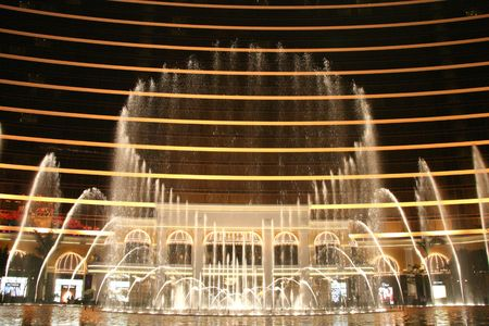 Musical Fountain Show Wynn Casino and Hotel , Macau Stock Photo