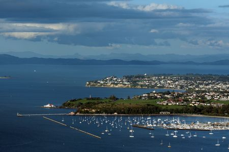 arial views: Arial View of Aukland City, New Zealand