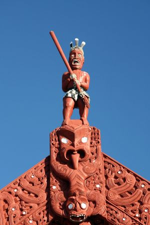 Maori Carving - Maori Culture in New Zealand Stock Photo