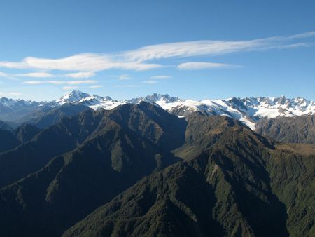 arial views: Mountains Covered With Snow - Southern Alps, New Zealand