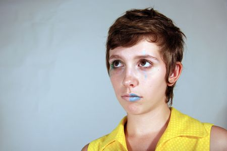 Clown Faced Cute Young Woman Stock Photo - 3623779