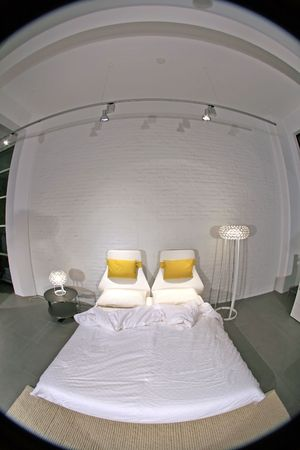king size: Fisheye Image of Modern Stylish Expensive Bedroom with high end furniture for modern living.