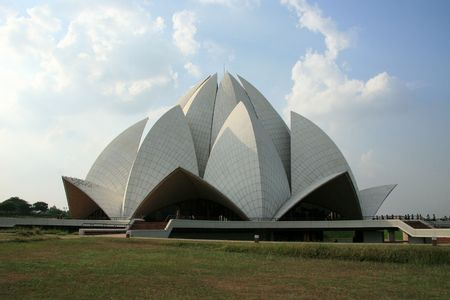 The famous Bahai Temple (Lotus Temple) in Delhi, India