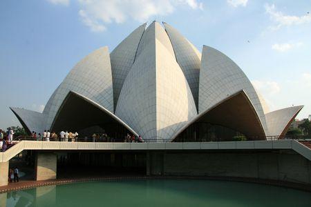 The famous Bahai Temple (Lotus Temple) in Delhi, India
