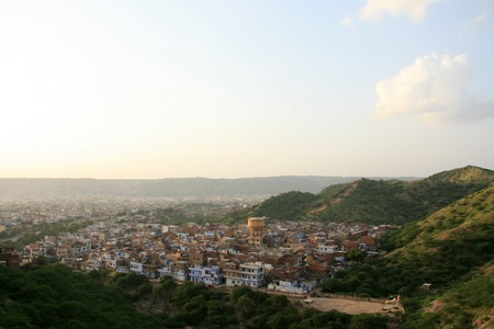 arial views: Jaipur City in Rajasthan, India