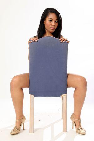 hoer: Mooie jonge vrouw in Ondergoed in geïsoleerde Studio Kader Stockfoto