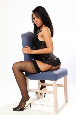 sexy black girl: Beautiful Young Woman in Underwear  in Isolated Studio Setting Stock Photo