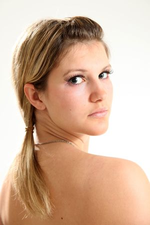 Beautiful Young Caucasian Woman in Isolated Studio Setting photo