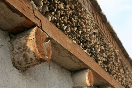 Leh Palace on top of hill overlooking village of Leh, Northern India photo