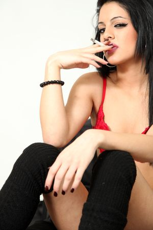escort: Beautiful Young Female Model in Isolated Studio Setting
