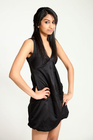 beautiful indian girl face: Beautiful Young Female Model in Isolated Studio Setting