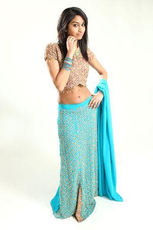 sari: Hermosa modelo femenino indio joven en aislado Studio de configuraci�n Foto de archivo