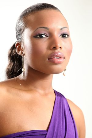 black makeup: Beautiful Young Female Model in Isolated Studio Setting