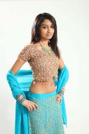fashionable girl: Beautiful Young Indian Female Model in Isolated Studio Setting