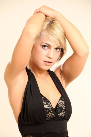 Beautiful Young Blond Female Model in Isolated Studio Setting photo