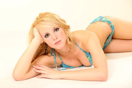 Beautiful Young Female Model in Isolated Studio Setting photo