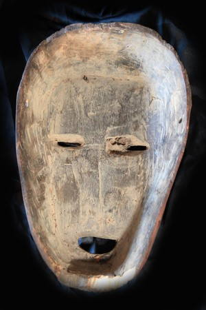 African Tribal Wooden Hand Carved Mask From Congo photo