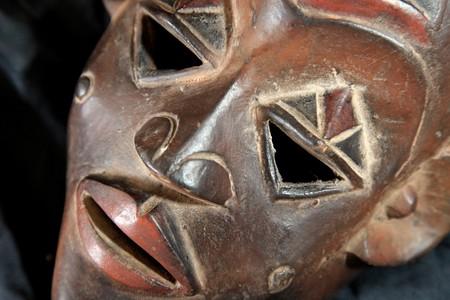 arte africano: Africano mano de madera tribal carved m�scara de Congo