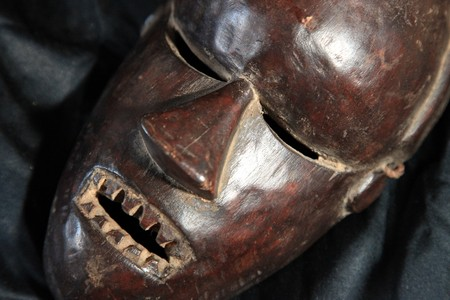 Congo: African Tribal Wooden Hand Carved Mask From Congo