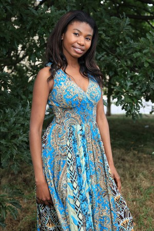 Beautiful Young African Lady in Natural Setting photo