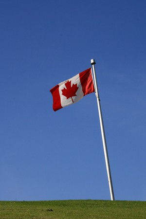 Canada Flag - Granville Island in Vancouver, BC, Canada photo