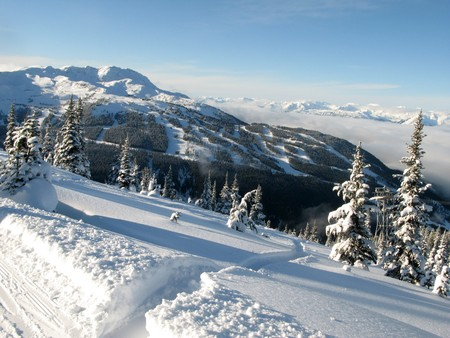 snow capped: Blackcomb Mountain - Whister, BC, Canada Stock Photo