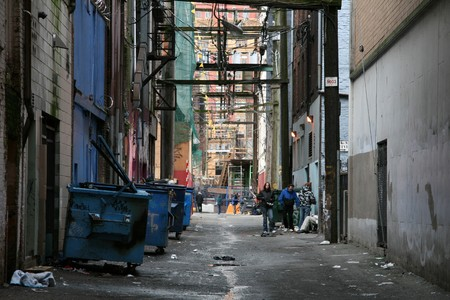 city alley: Back Street Alleys in The City of Vancouver, BC, Canada Stock Photo