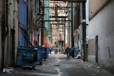 Realizar copia de seguridad pasajes de la calle en la ciudad de Vancouver, BC, Canadá