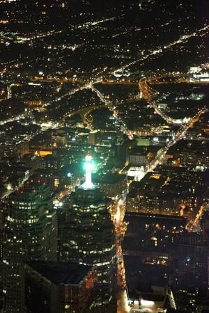 arial views: Toronto City at Night, Ontario, Canada