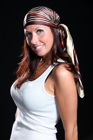 bandana girl: Beautiful Young Female Model in Isolated Studio Setting