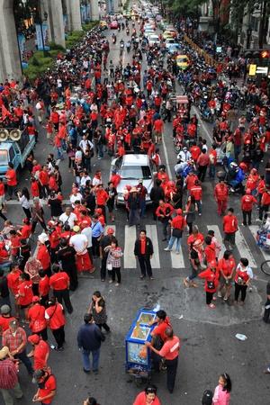 protestors: BANGKOK - NOV 19: Red Shirts Protest Demonstration - Bangkok, Thailand (19th November 2010)